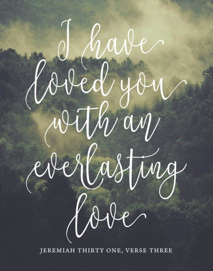 $5.00 Bible Verse Print - I have loved you with an everlasting love Jeremiah 31:3  He loves us with an everlasting love. Nothing we do can change that. Sometimes guilt can take over and make us think that He loves us less based on things we've done. However, this verse reminds us that His love is everlasting so we can never have doubt in that. - Different size options available #Ihavelovedyouwithaneverlastinglove #bibleverse #christianprint #christiandecor #christianhomedecor #christiangifts