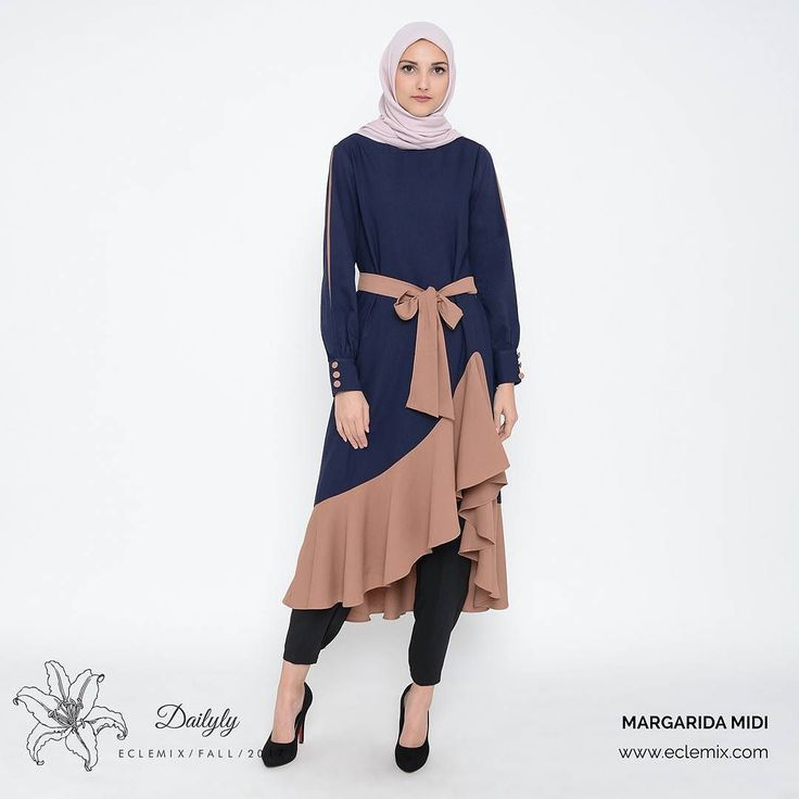 New arrival this week. . MARGARIDA MIDI. . available on navy choco pink cream. . www.eclemix.com . #eclemixcatalog  #eclemix #fashionhijab  #fashion #ootd #beauty #hijab #bandung #localbrandindonesia