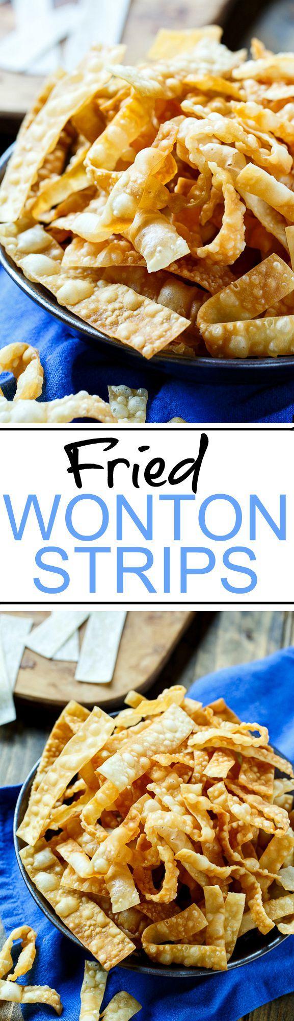 Fried Wonton Strips - Only 2 ingredients!