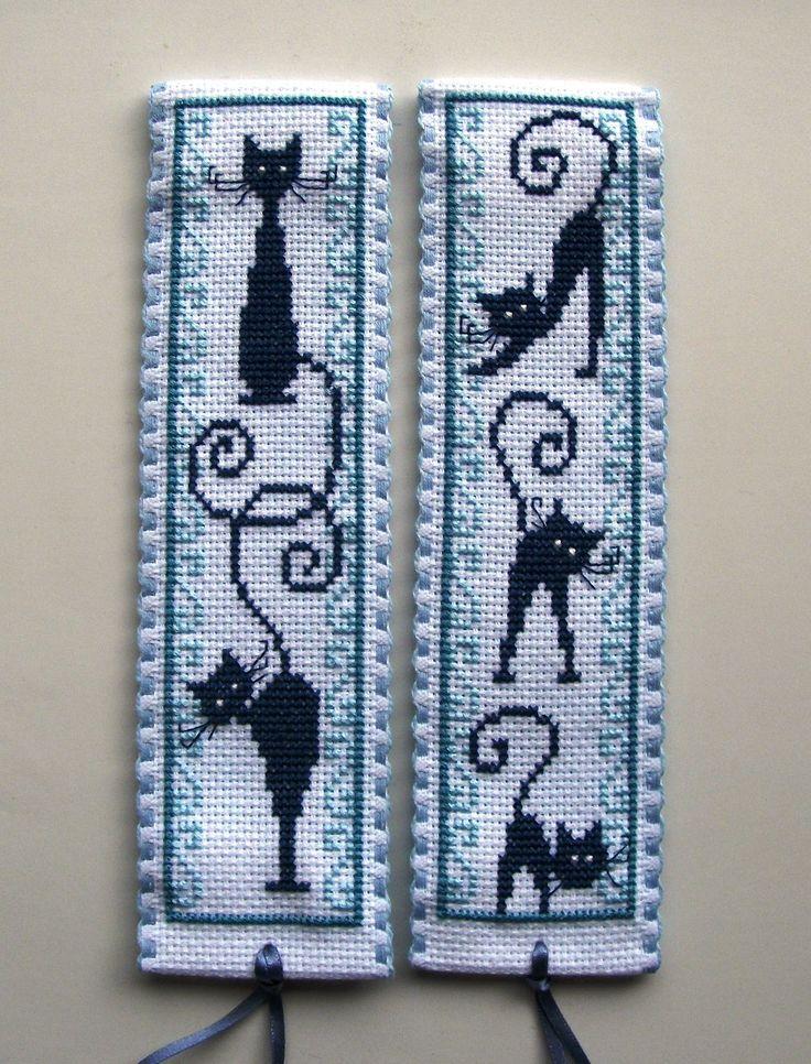 Vervaco cross stitch bookmarks-retro blue cats.