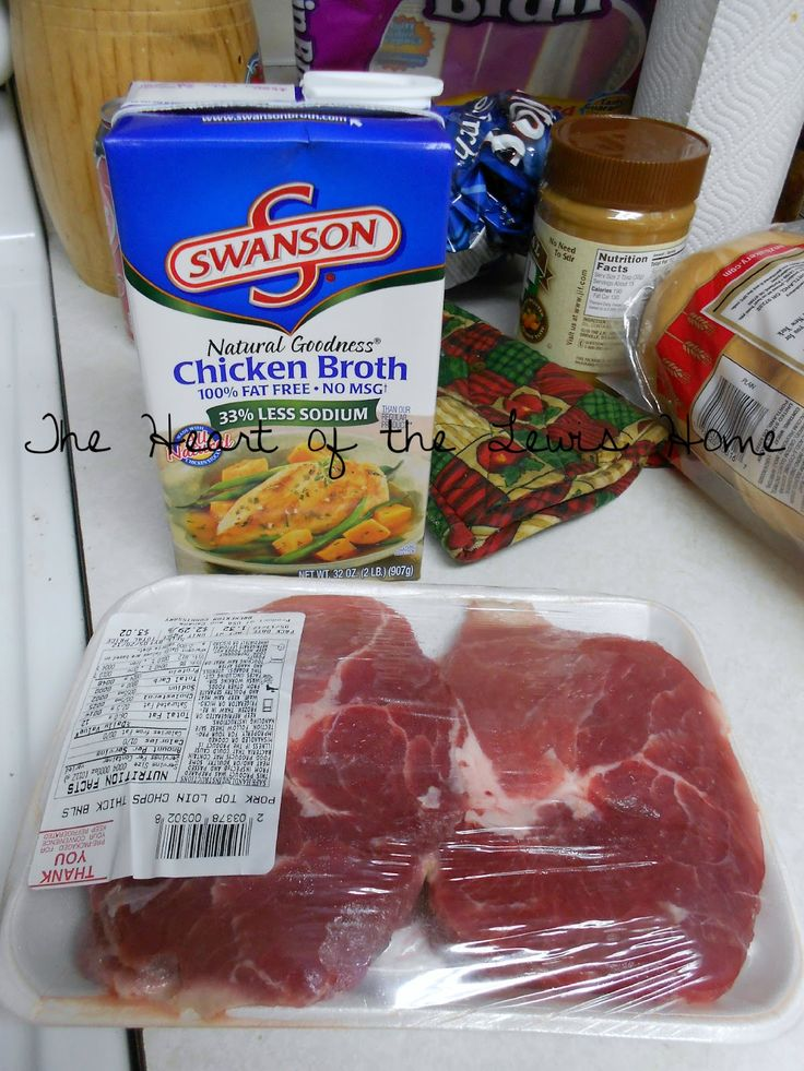 4 pork chops; can of cream of chicken; 1.5 cup chick broth; 1 pkt brown gravy and 1 pkt onion soup mix... crock pot 6-8 hrs