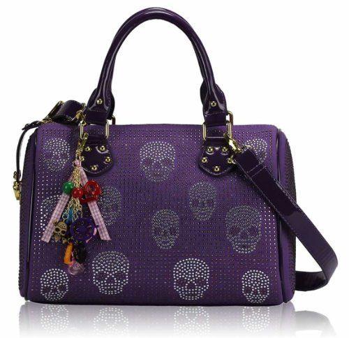 Ladies Purple Barrel Skull Print Charm Designer Barrel Handbag - http://www.amazon.co.uk