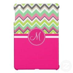 Custom Monogram Chevron Pink and Green iPad Mini Case #zazzle #ipadmini