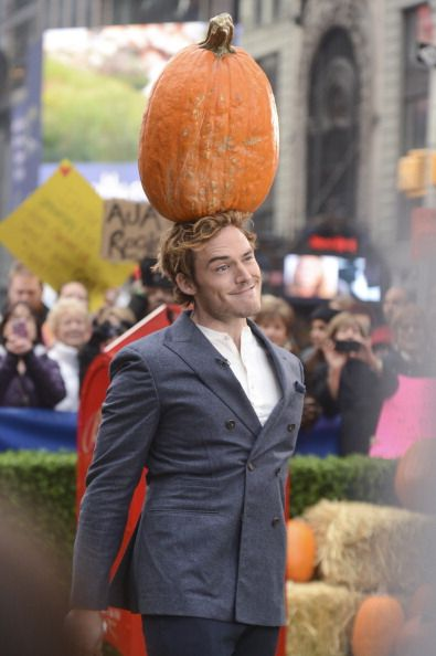 soo uuh here we have Sam with a pumpkin on his head...
