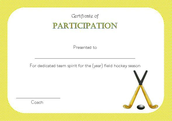 certificate templates hockey field printable certificates template professional youth participation award awards player demplates players