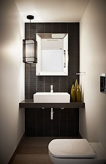 Small Narrow Powder Room - perfect for toilet with a long room & no area outside for basin.