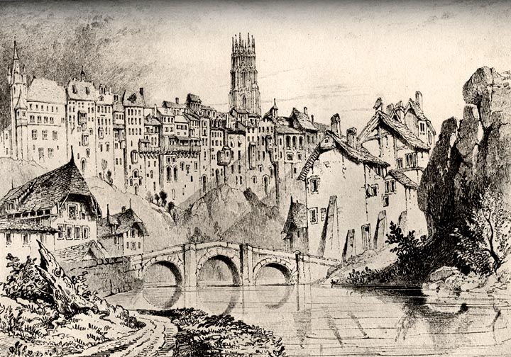 Fribourg. 1835 by John Ruskin (1819-1900). Drawing with wash.