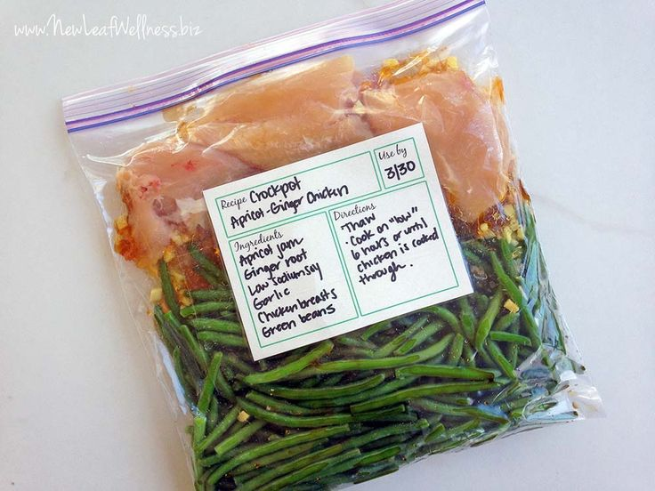 Make-Ahead Crockpot Apricot-Ginger Chicken with green beans.  I made this and it's sweet, savory, and absolutely delicious!