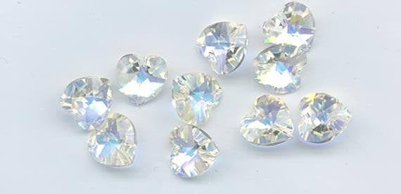 12 pieces rare vintage Swarovski heart pendants - Art. 6202 - 10.3 x 10 mm - crystal AB