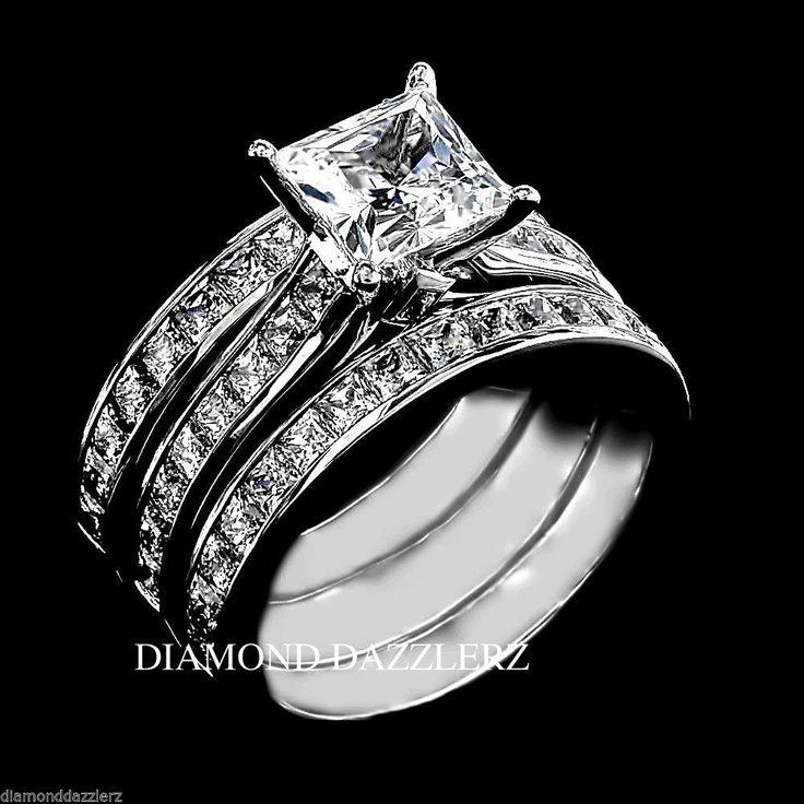 Princess cut Diamond Engagement Ring 3pc Wedding Band Set Sterling Silver size 8