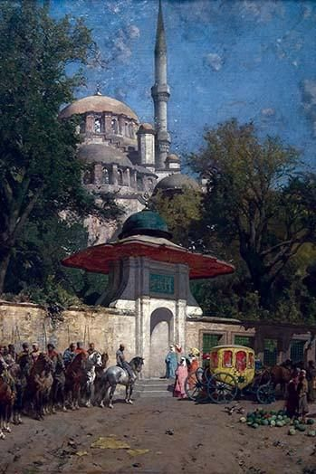 The Mosque of Sultan Achmet, Constantinople. High quality vintage art reproduction by Buyenlarge. One of many rare and wonderful images brought forward in time.