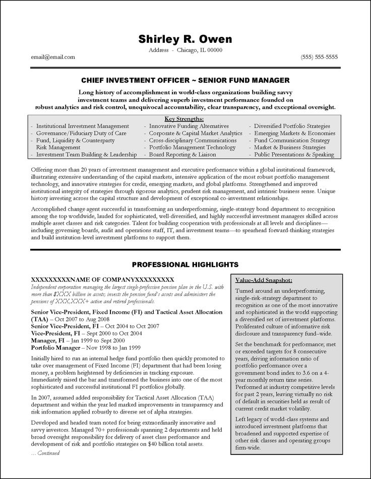 Investment Banking Executive Resume Example