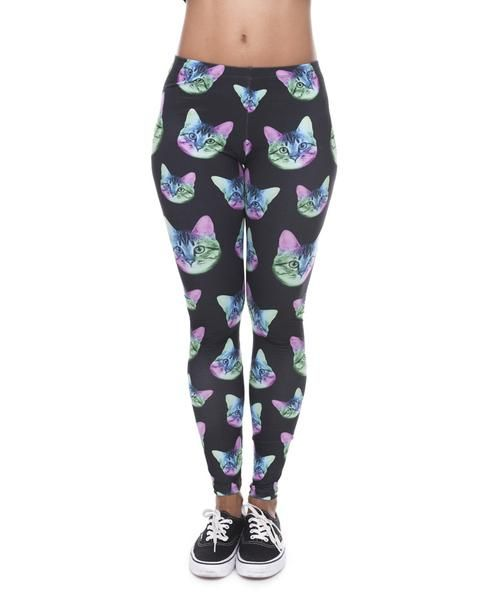 Psychedelic Cat Head Tights