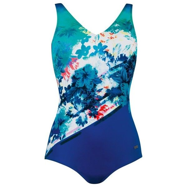 M&Co Naturana Hawaiian Print Tummy Control Swimsuit ($75) ❤ liked on Polyvore featuring swimwear, one-piece swimsuits, turquoise, 1 piece swimsuit, tummy control one piece swimsuit, strappy bathing suit, swimsuit swimwear and turquoise swimsuit