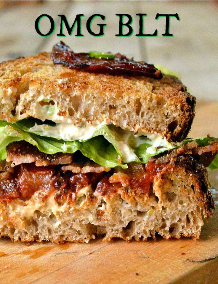 The OMG BLT is made with candied peppered bacon, roasted tomatoes and jalapeno cream cheese. Oh My!