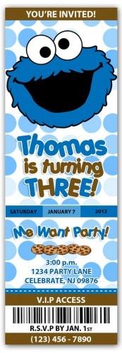 Cookie Monster VIP Ticket Invites