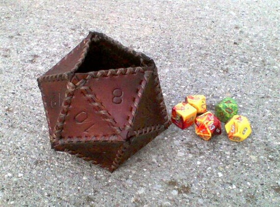 20 sided leather dice cup. I can't work with leather, but I LOVE this