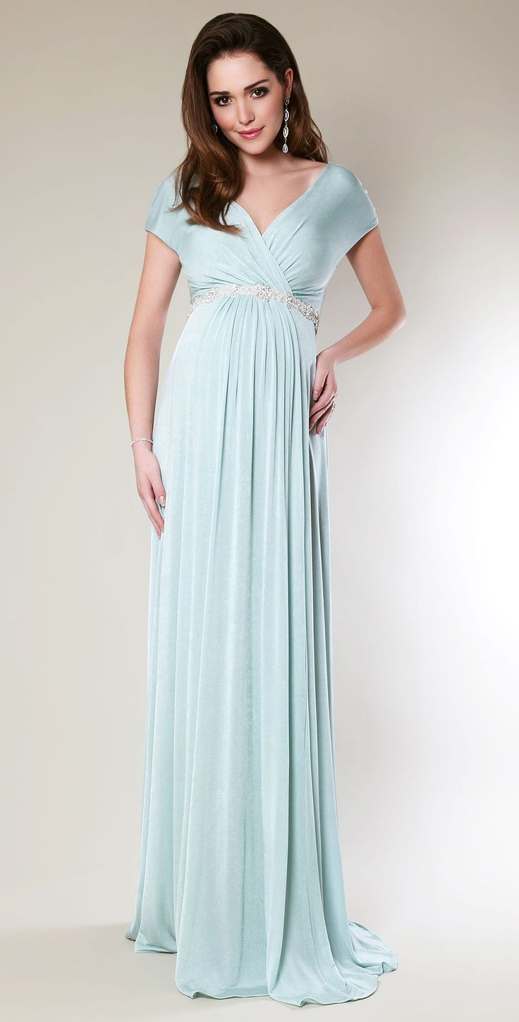 Alessandra Maternity Gown Long (Sea Breeze) - Maternity Wedding Dresses, Evening Wear and Party Clothes by Tiffany Rose.