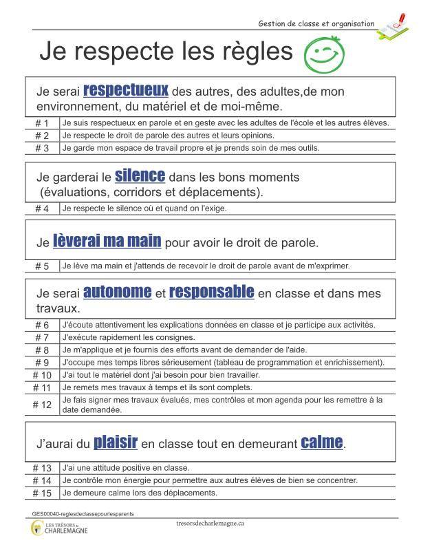 Règles de classe pour les parents (détails) Ce document représente une belle façon de communiquer avec les parents. En effet, il s'agit de toutes les règles de classe divisées par des points précis qui n'auraient pas été respectées par l'enfant. Vous n'avez qu'à écrire le numéro de la règle et le tour est joué ! Ce document comporte une page. #Gestion #organisation #affiche #règles