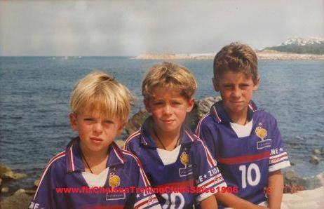 Young Kylian Hazard, Thorgan Hazard and Eden Hazard (Belgium)