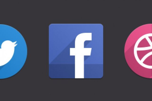 A set of 16 flat inspired social icons in a psd file. The icons follow the new trend of long shadows...