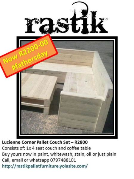 LucienneCorner Pallet Couch Set – R2800Consists of: 1x 4seat couch and coffeetableBuy yours now in paint, whitewash, stain, oilor just plainCall, email or whatsapp0797488101http://rastikpalletfurniture.yolasite.com/
