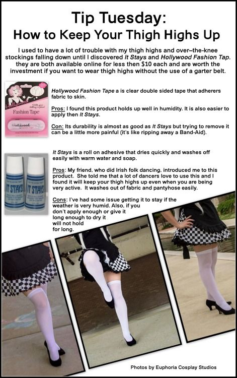 Tips: 1. I highly recommend that you make sure that your legs are freshly shaved before applying either product. 2. It Stays can also be used to help hold a wig cap in place. 3. If you are layering thigh-highs over a pair of panty hose you can also use It Stays to stick then together. To see more of my cosplay work: https://www.facebook.com/bigfamilycosplay http://lookylolo.deviantart.com/