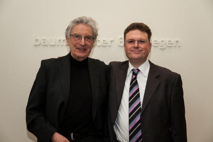 Gerhart Baum und Prof. Dr. Julius Reiter bei der Veranstaltung mit Christian Lindner in der Kanzlei baum Reiter & Collegen am 25.04.2012