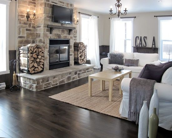 Dark Gray Wood Floors and stone @ Home Idea Network