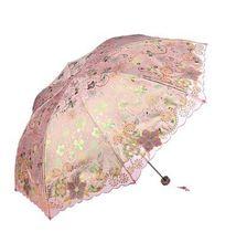 Deluxe Portátil Elegante bordado Sol Guarda-chuva de Proteção UV Toldo Verão das Mulheres Elegante em Guarda-sóis-Rosa(China (Mainland))