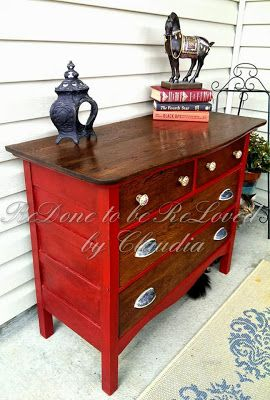 """Ruby"" Red transformation for an antique $40 dresser...by Claudia at ReDone To Be ReLoved"