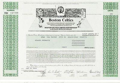1988 Boston Celtics Stock Certificate