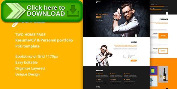 Free nulled James Resume CV \ Personal portfolio PSD Template - online resume download