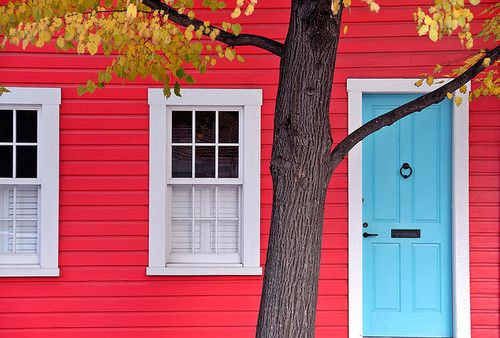 Describe your pin. Add a price by typing $ ...: Red House, Blue Doors, Aqua Blue, Bright Color, Doors Color, House Color, Future House, House Doors, Color Combinations