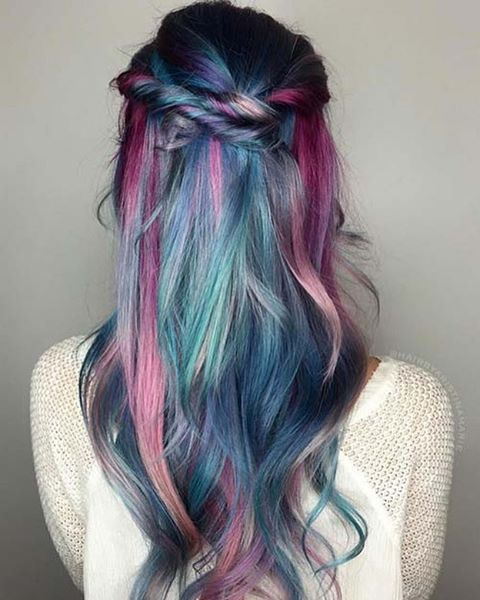 Mermaid hair Monday.. a Lusty blend of Bold and Pastel tones.. Raspberry, Electric Violet, Blue Horizon, Misty Rose, Mint Cream and Lilac Mist... #lusthairnz #mermaidhair #phbnz