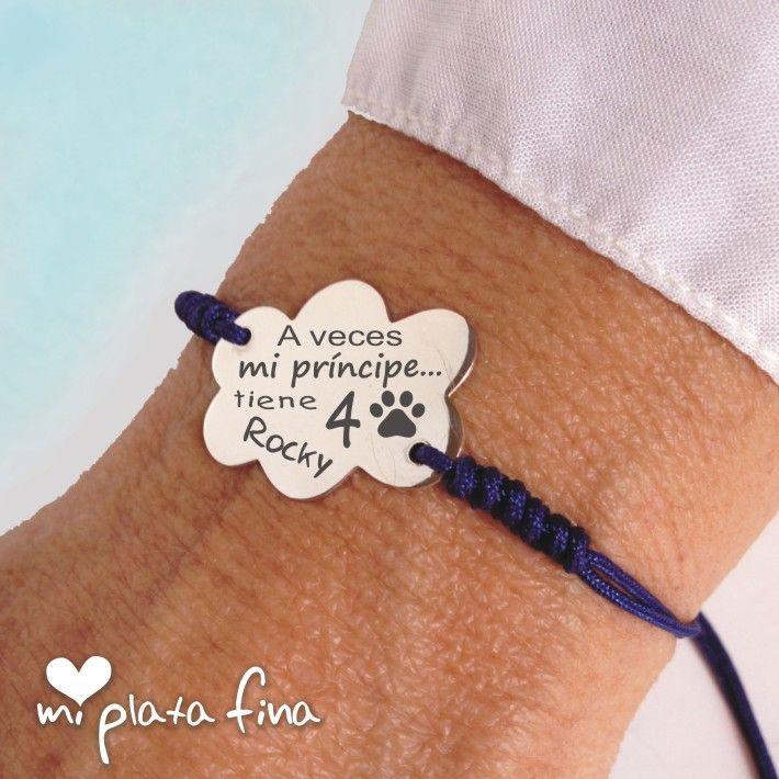 Pulsera Nube de plata de ley grabada personalizada con mensaje, nombres o dibujos que tu desee... #joyasquehablandeti #miplatafina