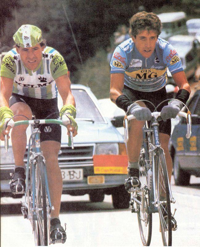 Pedro Delgado (rode for Seat- Orbea in 1985) y Jose Recio (rode for Kelme '81 to '89) Vuelta 85