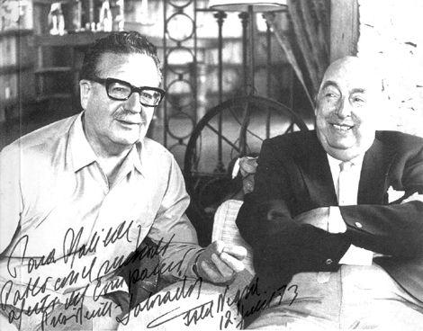 Presidente Salvador Allende y premio Nobel Pablo Neruda