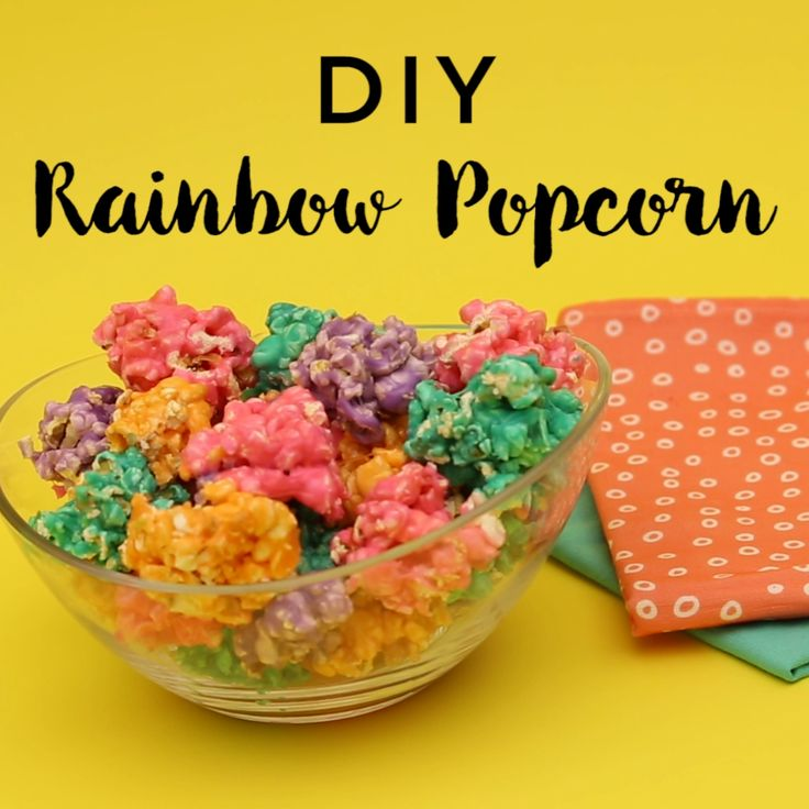 Snack on Rainbow Popcorn by following this creative + colorful recipe video DIY tutorial.