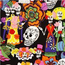 Totenkopf Stoff Los Novios mit bunt gekleideten Skelette & Totenköpfe