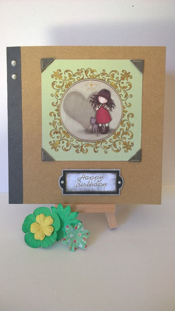 Handmade girl with heart birthday card by Lazymitts on Etsy
