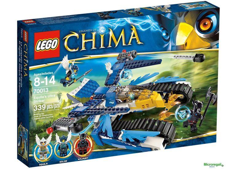 LEGO CHIMA 70013 L'AQUILA CINGOLATA DI EQUILA.ETA' 8-14 anni. Allerta la tribù delle Aquile! Razar e Rizzo si sono impossessati del CHI della tribù delle Aquile e sono in fuga sul Corvo volante! Fai volare l'Intercettatore di Eris e mettiti all'inseguimento dei banditi! Aziona il suo realistico becco, le ali, le gambe, gli artigli e la coda mobili per lanciare un contrattacco aereo! Posizionati in modalità attacco e lancia i missili per abbattere il Corvo o cattura e rinchiudi i banditi ...