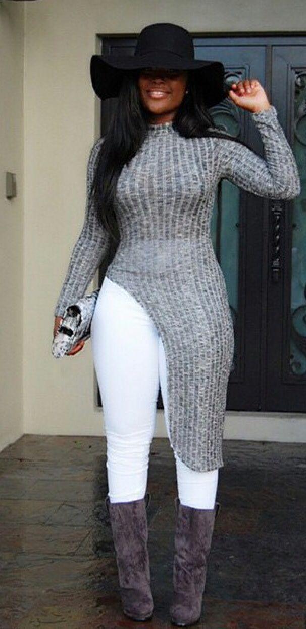 Chic Stand Collar Long Sleeve Irregular Sweater For Women