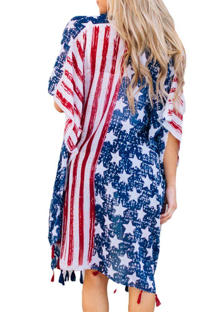 9ec68f035f Women Maternity Clothes - Ytwysj Womens American Flag Star Stripes Print  Beachwear Kimono Cover up Swimsuit Bikini Cover up Boho Dresses Sundress  *** Check ...