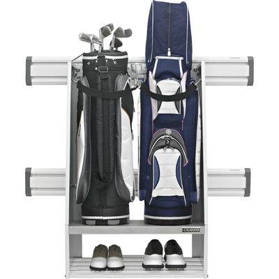 Gladiator Premier Series Weleded Steel 2-Bag Golf Caddy Garage Wall Storage Wall Mounted Sports Rack