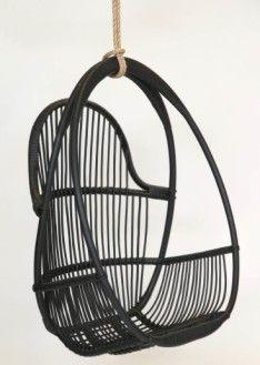 Klassikko Parolan Rottinki riippukeinu musta