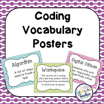 Hour of Code: Computer Coding Vocabulary Posters- These 46 colorful coding posters are a great way to teach your students about computer science and frequently used coding vocabulary from code.org.