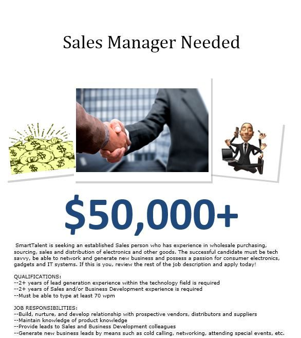Sales Manager needed $50-60K annually to start Lynnwood@SmartTalent