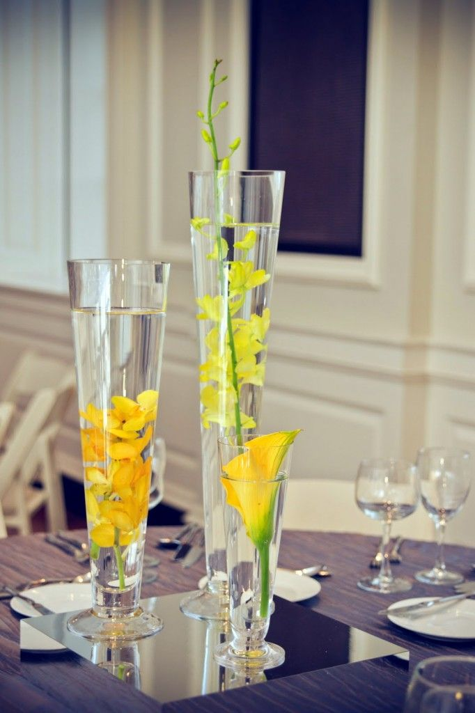 Mirrored Light Boxes Centerpieces Tall Mint Wedding Centerpieces Yellow Centerpieces
