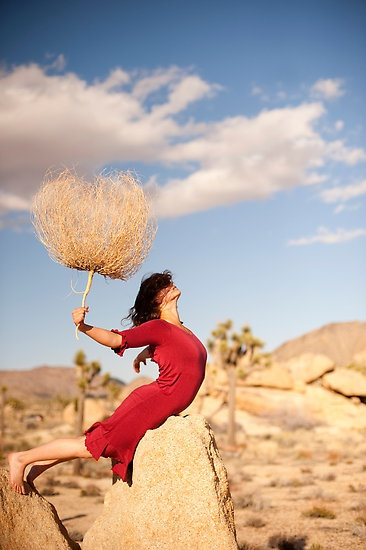 Rooted by Antaratma Images.  Woman holding the root of a desert plant skeleton.